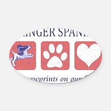 FIN-springer-spaniels-pawprints-CR Oval Car Magnet