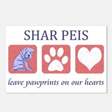 FIN-shar-pei-pawprints-CR Postcards (Package of 8)