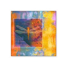 "flamingDragonflyBlanket Square Sticker 3"" x 3"""