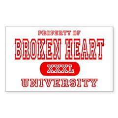 Broken Heart University Rectangle Decal