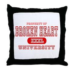 Broken Heart University Throw Pillow