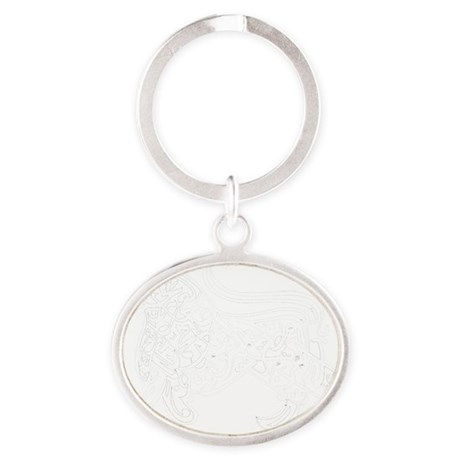 tshirt-calligraphy01-wit Oval Keychain