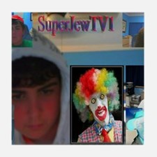 2-superjewtv1 logo Tile Coaster