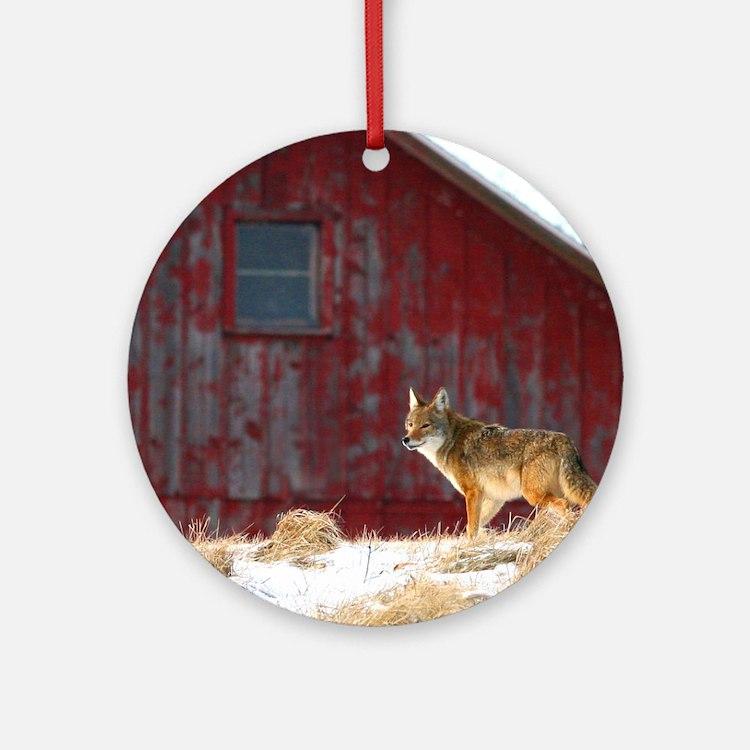 coyote barn Round Ornament