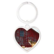 coyote barn Heart Keychain