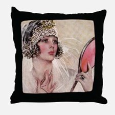girl w mirror square Throw Pillow
