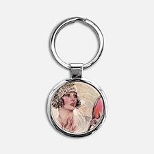 girl w mirror square Round Keychain