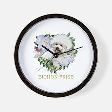 Bichon Frise Valentine Rose Heart Wall Clock