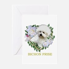 Bichon Frise Valentine Rose Heart Greeting Cards (