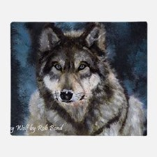 Gray Wolf Throw Blanket
