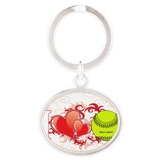 l love Softball(blk) Oval Keychain