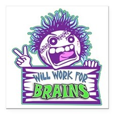 """Zombie WORK Square Car Magnet 3"""" x 3"""""""