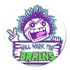 Zombie WORK Round Car Magnet