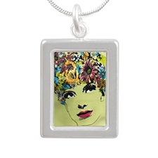 flower_twitter Silver Portrait Necklace
