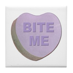 Bite Me Valentine Heart Tile Coaster