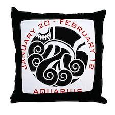 Aquarius Emblem Red Throw Pillow