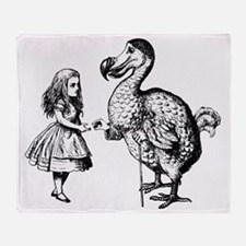 Alice and the Dodo Inked Black Throw Blanket