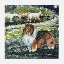 sable sheltie with sheep Tile Coaster