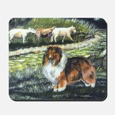 sable sheltie with sheep Mousepad