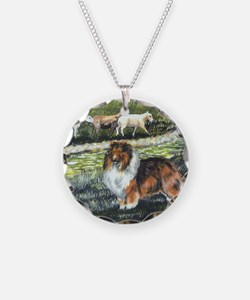 sable sheltie with sheep Necklace