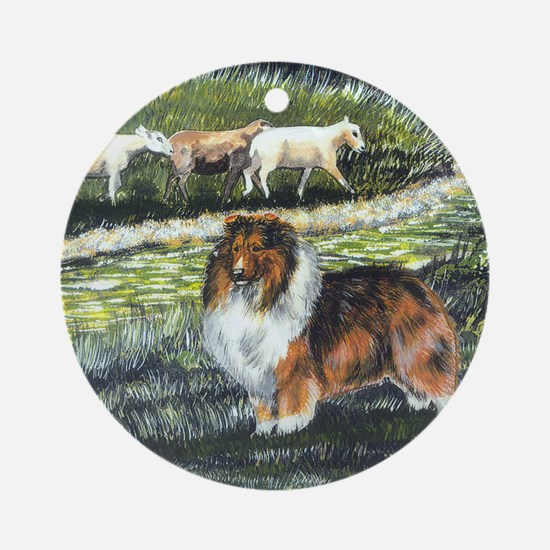 sable sheltie with sheep Round Ornament
