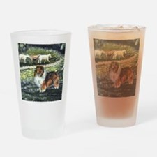 sable sheltie with sheep Drinking Glass