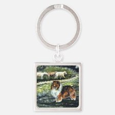 sable sheltie with sheep Square Keychain