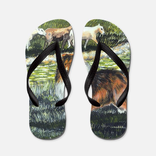 sable sheltie with sheep Flip Flops