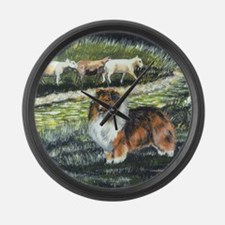 sable sheltie with sheep Large Wall Clock