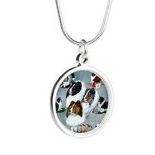 sheltie versatility Silver Round Necklace