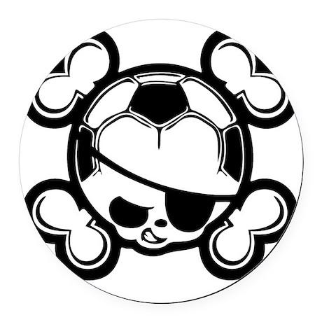 soccer-boy-skull-T Round Car Magnet