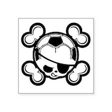 "soccer-boy-skull-T Square Sticker 3"" x 3"""