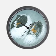 Blue and Tri Sheltie Heads Wall Clock