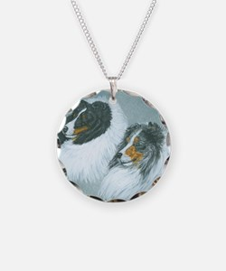 Blue and Tri Sheltie Heads Necklace