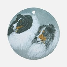 Blue and Tri Sheltie Heads Round Ornament