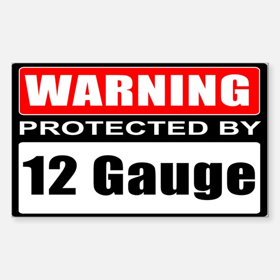 Warning 12 Gauge Sticker (Rectangle 10 pk)