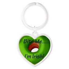 Bite_Me_Green_Irish DoNut-8x8 Heart Keychain