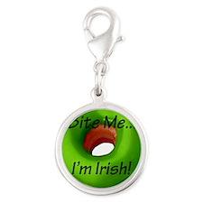 Bite_Me_Green_Irish DoNut-8x8 Silver Round Charm