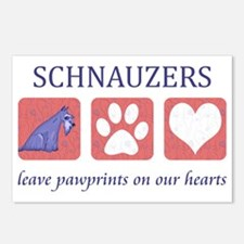 2-FIN-schnauzer-pawprints Postcards (Package of 8)