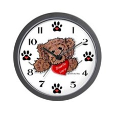Chocolate Doodle Love Wall Clock