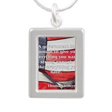 jeffersonquoterectangle Silver Portrait Necklace