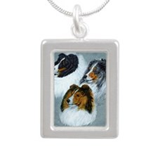 three heads square Silver Portrait Necklace