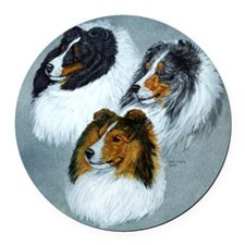 three heads square Round Car Magnet
