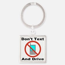 donttextanddrive_transparent Square Keychain