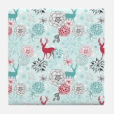 REINDEER FLORAL Tile Coaster