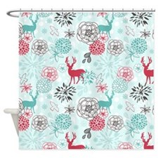 REINDEER FLORAL Shower Curtain