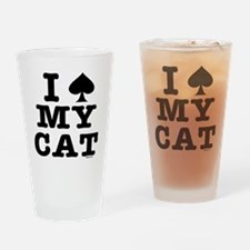spadecat10x10bw-d Drinking Glass
