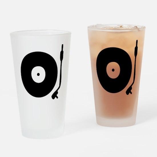 Vinyl Record Turntable Drinking Glass