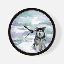 alaskan_malamute2_CPblanket Wall Clock