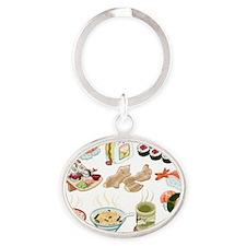 Kawaii Sushi Ban Cafe Oval Keychain